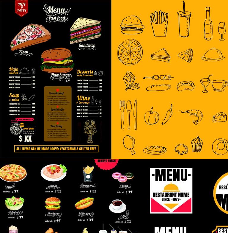 最新★手绘汉堡可乐披萨薯条西餐饮菜单海报模版