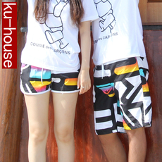 Casual pants Ku/house Yellow letter couples