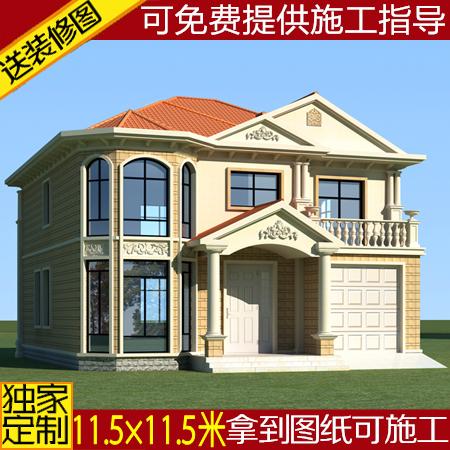 二层带车库砖混结构建筑设计方案农村自建房经典大气别墅图纸全套