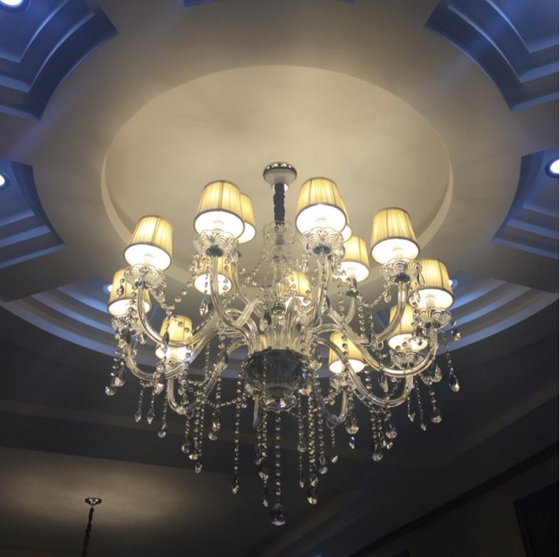 简约欧式客厅水晶吊灯餐厅卧室蜡烛大吊灯别墅复式楼楼梯led灯具图片