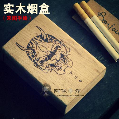 包邮手绘真人漫画卡通动漫烙画肖像素描头像手工实木烟盒烙制刻字