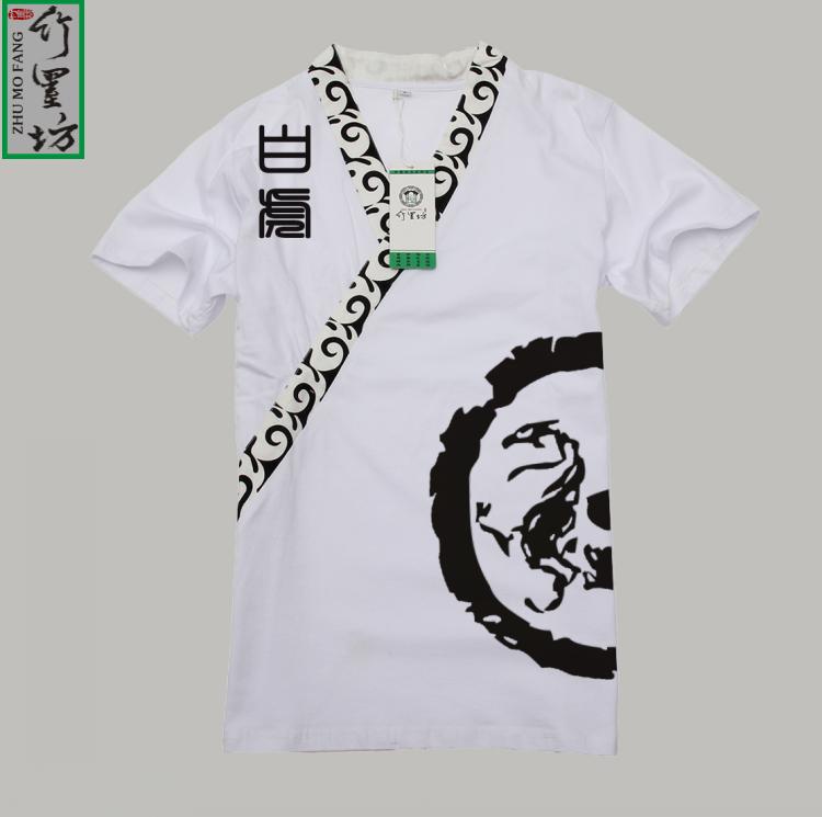 中国风汉服元素时尚中式改良男时装 四大神兽之白虎 民族图案t恤