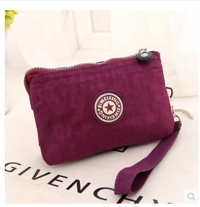 2015新款女包三层拉链手拿包迷你零钱包尼龙花布手机包小手包包