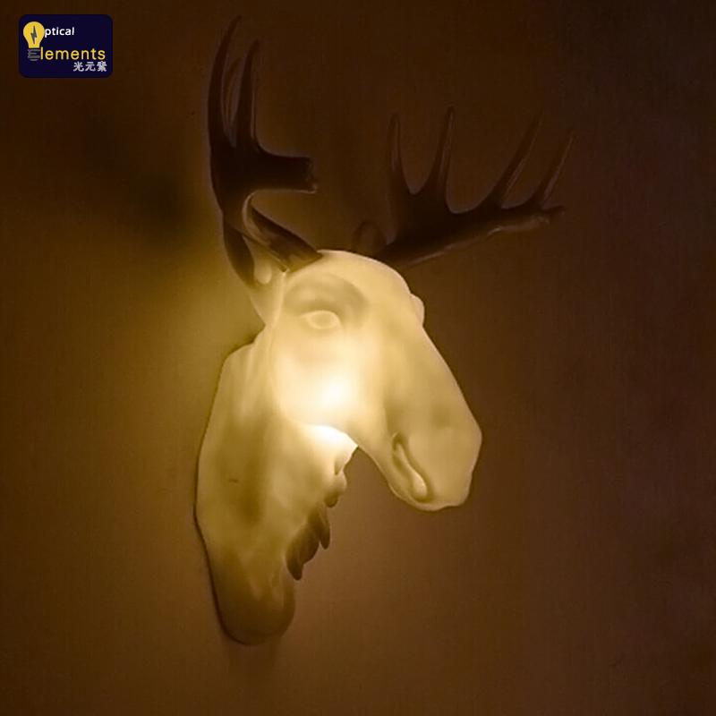 装饰动物北欧美式创意复古守猎者鹿头内透光发光鹿头壁灯酒店酒吧