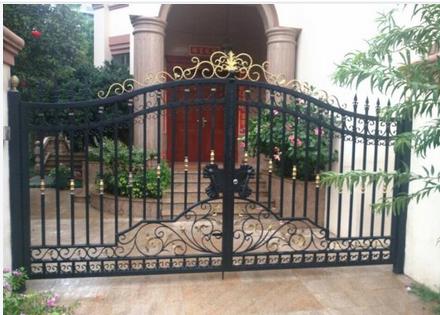 欧式铁艺大门小区双开门别墅庭院门平移门电动遥控门