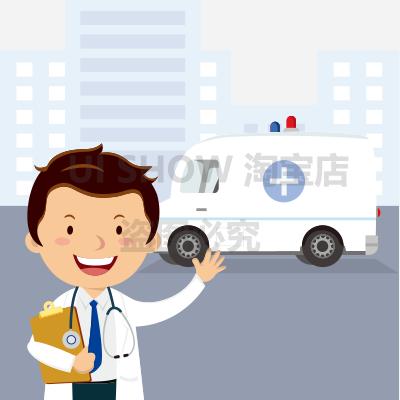 日韩卡通可爱q版救护车医生大夫背景宣传像抢救人物