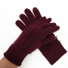 Big wine red! Owool recommended! French custom autumn winter warm touch screen cashmere gloves