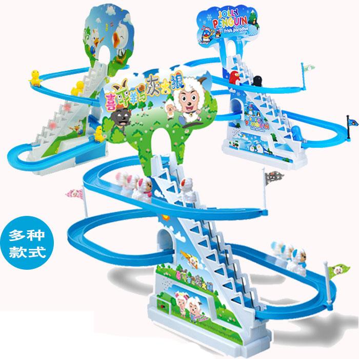 小猪佩奇电动轨道旋转滑梯动感的音乐带灯光组合套装