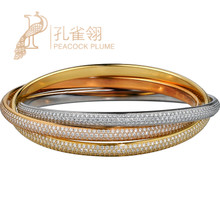 Cartier Cartier TRINITY Luxury Diamond Tri-Color Gold Ring Bracelet HP600368