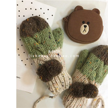 South Korea's new color matching wool ball wool gloves gloves autumn and winter plus velvet thick warm knitting student gloves