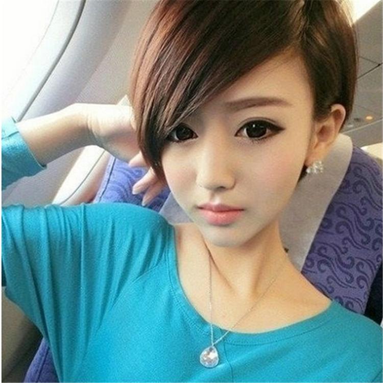 女短发帅气时尚斜刘海短直发发型气质逼真可爱学生假图片