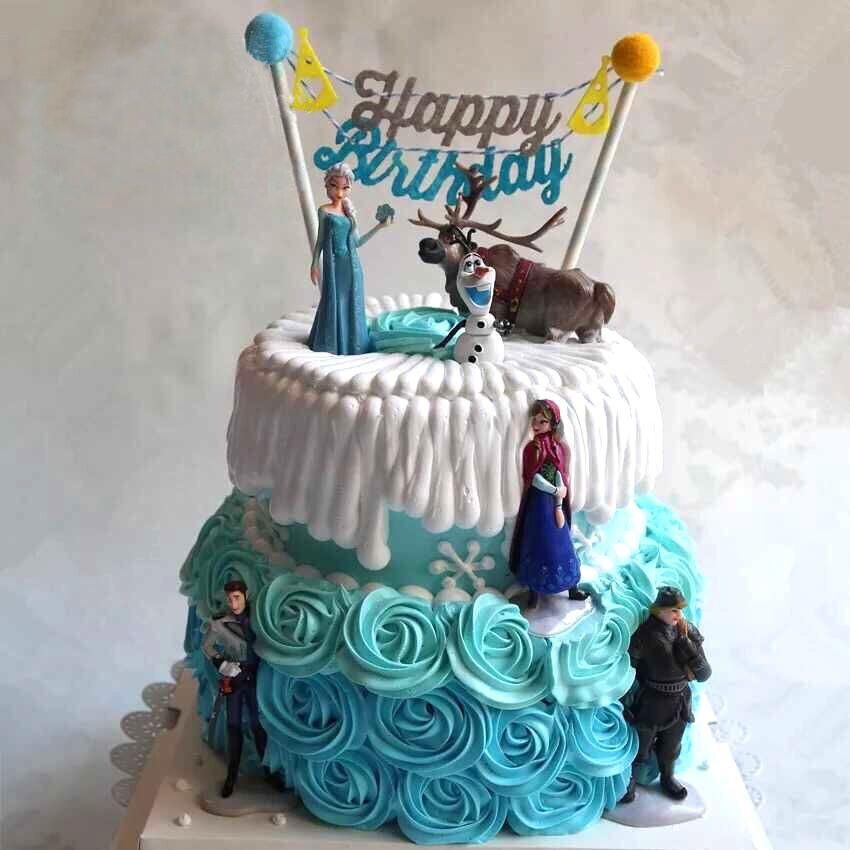 冰雪奇缘爱莎安娜芭比公主蛋糕.爱沙公主双层蛋糕 西安同城