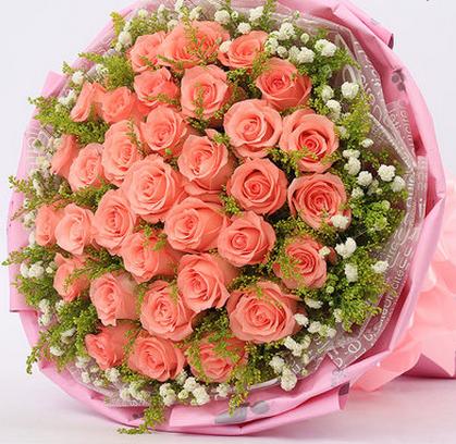 青岛鲜花店同城速递33粉玫瑰花束七夕情人节预定市南