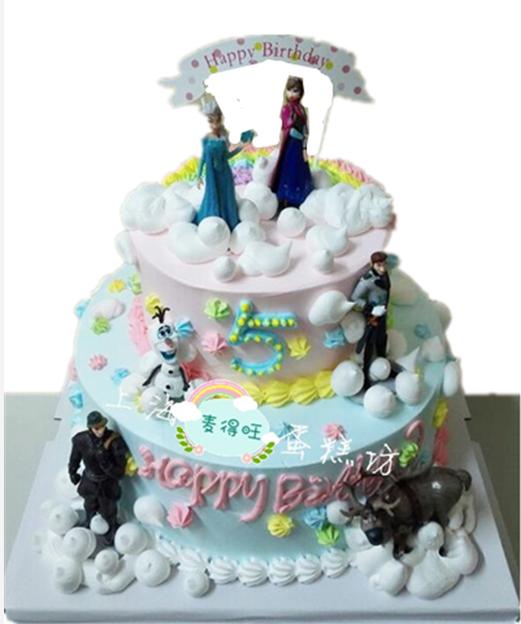 创意冰雪奇缘场景卡通生日蛋糕儿童周岁爱莎公主蛋糕