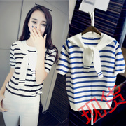 Summer dress Navy Scarf Collar Shirt Collar two fake fake candy color stripe knit short sleeved T-shirt