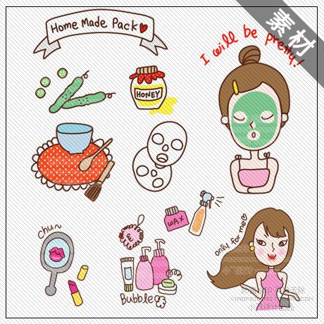 小飞家 韩国卡通美容化妆品png免扣素材/装饰宝贝描述美化图91p