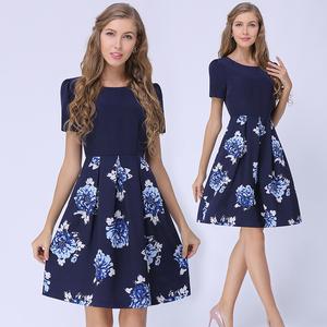 千款衣衣外贸大码女装连衣裙2019新款夏赫本复古裙高腰 气质短袖