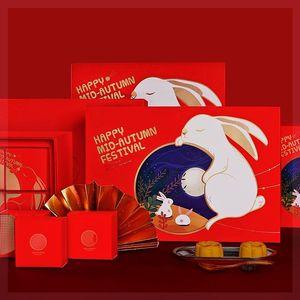 创意中秋ins风月饼盒包装盒简约文艺送礼通用礼盒子?#24080;?#25955;装高档