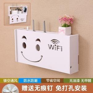 收纳盒无痕网线网路壁挂箱路由器大号电视线插线板?#25509;?#30005;线带盖