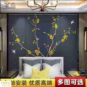 软包背景墙 定制中式主卧室房间床头电视背景墙欧式图案壁画硬包