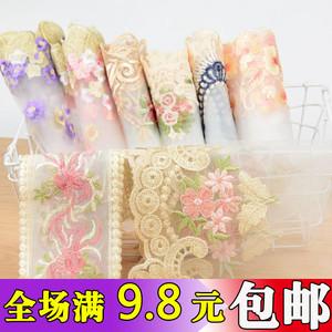 蕾絲花邊輔料寬镂空歐根紗刺繡花朵裙擺窗簾沙發套桌裝飾diy布料