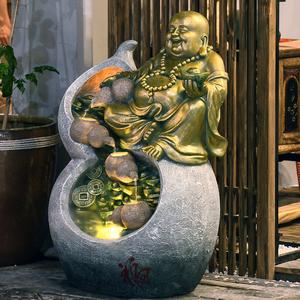 弥勒佛像喷泉流水摆件客厅落地禅意招财摆设家居水景店铺开业送礼