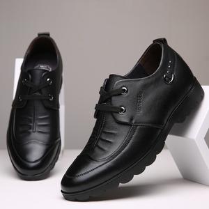 夏季內增高男鞋6cm男士商務休閑皮鞋真皮韓版透氣黑色軟底增高鞋