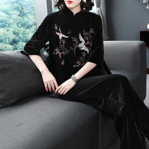 刺繡套裝女秋冬中國風絲絨兩件套日常復古風漢服改良唐裝女套裝