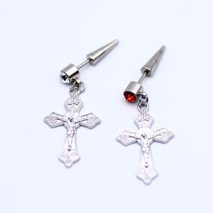 男耳釘韓國個性氣質潮人耳墜十字架耳飾單只合金耳環街頭不易過敏