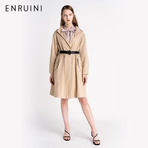 恩瑞妮2019秋新款风衣女中长款 韩版宽松时尚气质外套 设计感上衣