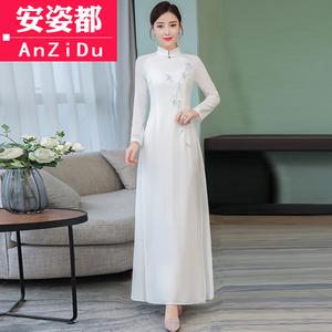 茶服女春装禅意禅服复古长裙2019新款中国风女装改良旗袍式连衣裙
