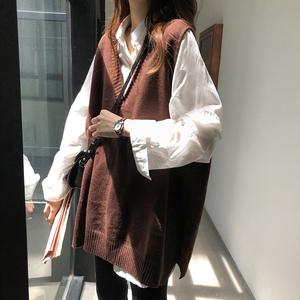 V领外穿背心马甲女韩版百搭宽松显瘦无袖毛衣针织衫外套两件套