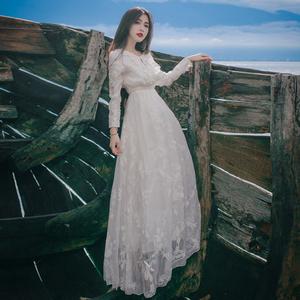 2019秋季新款女装连衣裙刺绣仙女网纱蕾丝长袖高腰显瘦度假长裙潮