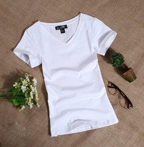 短袖t恤女装纯棉桖血V领土丅贴身体恤修身紧身半截袖夏季上衣服