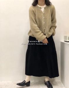 19秋韩国代购甜美气质优雅复古马海毛针织开衫搭配蛋糕半身裙
