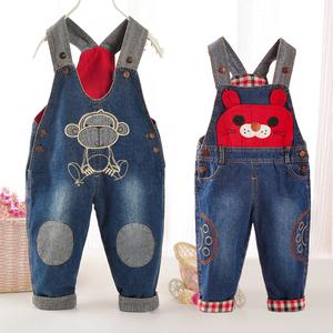 宝宝背带裤春秋款儿童牛仔秋冬装男童女童婴儿幼儿1-2-3岁罩裤