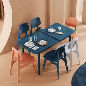 ins風網紅餐桌椅組合小戶型現代簡約折疊飯桌家用可伸縮實木餐桌