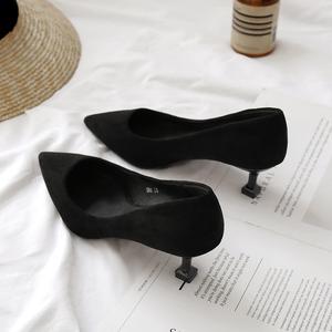 单鞋女2019春季秋款尖头低跟3cm小跟细跟猫跟5cm高跟黑色工作职业