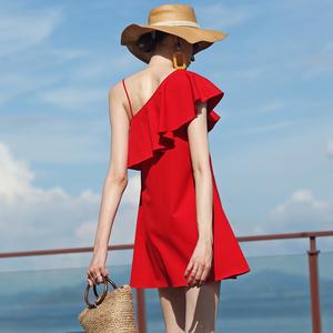 2019新款女夏斜肩吊带连衣裙荷叶边露背A字裙海边度假短款沙滩裙