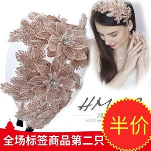 凤凰之羽 唯美法式欧美头饰欧根纱刺绣宽边短发发箍蕾丝新娘发饰