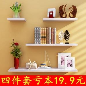墻上置物架 創意墻壁一字隔板臥室書架簡約現代擱板壁掛客廳裝飾