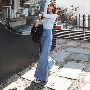 2019春秋牛仔裤女韩国东大门阔腿裤复古高腰显瘦两粒扣喇叭裤长裤
