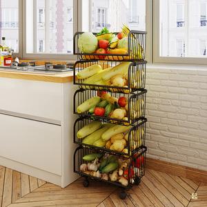 廚房置物架落地多層放菜籃子蔬菜水果收納筐儲物帶輪移動小推車