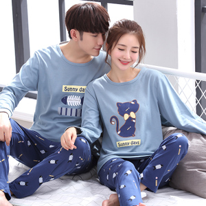 新觀蘭春秋季韓版貓吃魚情侶睡衣長袖純棉可外穿男女士家居服套裝