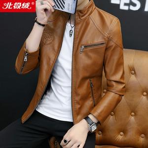 北极绒真皮皮衣男士绵羊皮机车皮夹克修身韩版青年潮流帅气薄外套