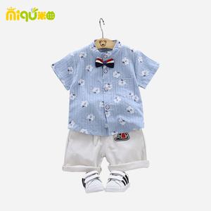 纯棉童装男宝宝夏装婴幼儿童衣服2-4小童夏季短袖衬衫套装1-3周岁