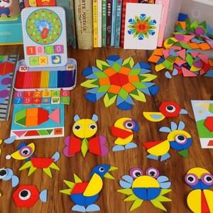 智力教学磁铁套装图形拼图七巧板趣味童年学前班创意磁性小学生