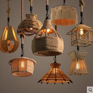 復古鐵藝麻繩吊燈特色酒店工業風個性創意燈餐廳網咖酒吧臺吊燈具