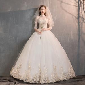 輕婚紗禮服2020新款韓版新娘一字肩長袖顯瘦齊地森系主婚紗春季女