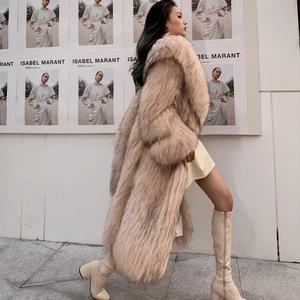 火焰皇后2019新进口貉子毛时尚翻领长款编织皮草外套女冬裘皮大衣